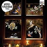 Wandtattoo Loft Fensterbild Weihnachten Winter Vogel Set winterliche Fensterdeko - Wiederverwendbare Fensteraufkleber/DIN A3