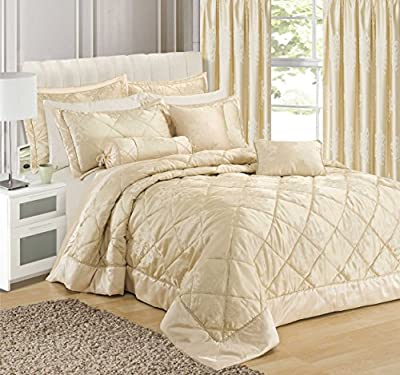 Home Bedding Store Premium King Size Luxury Jacquard Scroll Damask Cream Comforter / Bedspread Throwover produced by Intimates - quick delivery from UK.