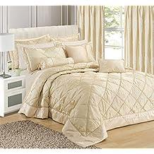 Intimates - Colcha para cama matrimonio, de jacquard, buena calidad, color dorado y crema