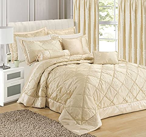 Home Bedding Store Premium King Size Luxury Jacquard Scroll Damask Cream Comforter / Bedspread Throwover