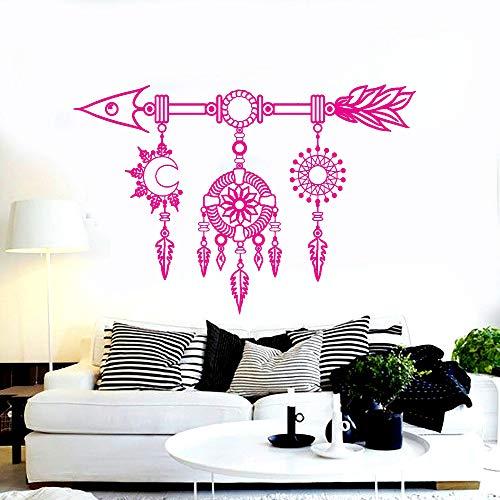 Mural de vinilo para decoración de sala de estar Salin clásico Atrapasueños Flecha Decoración de dormitorio étnico Etiqueta de pared para el hogar F 42 * 64 cm