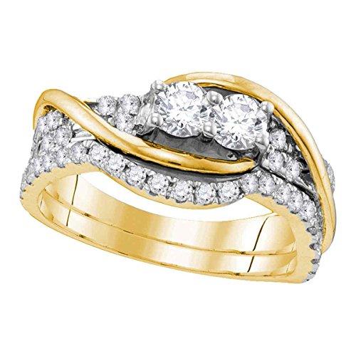 Damen-Ehering/Verlobungsring 14 kt Gelbgold Diamant 2 Steine 1 Karat