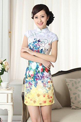 Smile YKK Qipao Robe Courte Rétro Cheongsam Femme Orientale Multicolore