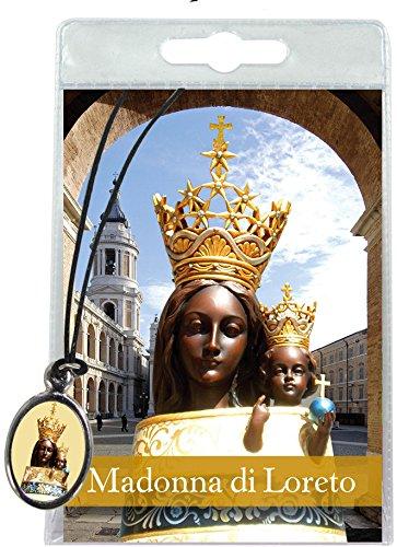 Medaglia resinata Madonna di Loreto con laccio in blister con preghiera in italiano