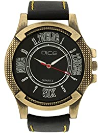 Dice Biker's Choice 0219 Casual Round Shaped Wrist Watch for Men with Black Color Dial Fitted with Anti-Allergic Soft Leather Strap.