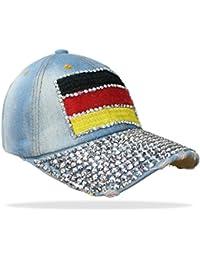 Damen Jeans Basecap Baseball Cap Mütze Kappe mit Deutschland Flagge und Strasssteinen - C006