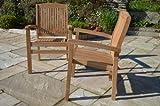 Marlborough - Solid Teak Fixed Armchair - Contoured Back