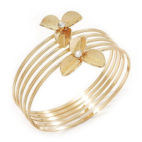 Vergoldet, strukturiert, Kristall, Blumen-Oberarm-Armreif - (bis 26 cm Oberarm-Umfang) (Oberarm-umfang)