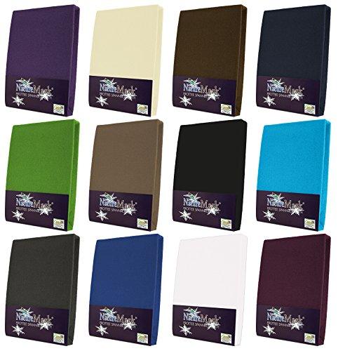 NatureMark Frottee Spannbetttuch, Spannbettlaken in allen Größen und vielen Farben (90x200 bis 100x200 cm, lila)