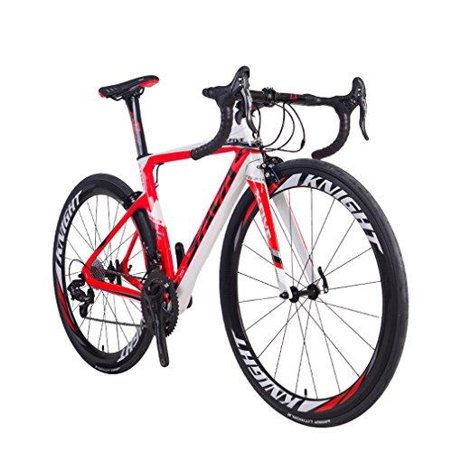 Carbon Rennrad, SAVA Phantom 8.0 700C Carbon Laufradsatz Rennrad Fahrrad mit CAMPAGNOLO CHORUS 22 Geschwindigkeitsgruppe MICHELIN 25C Reifen und Fizik Sattel (50, Weiß Rot)