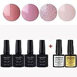Annabelle (Cuatro colores+Base&Top Coat)Esmaltes Permanentes Para Uñas Nail Art Soak Off UV LED Esmalte Permanente de gel (Lot 6 pcs 7.3ML/pc ) 0025