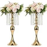 LANLONG 2 STÜCKE Acryl Nachahmung Kristall Kerzenhalter Stehen Gold/Silber Blumenvase Hochzeitsmittel Blei Straße Kerzenhalter für Hochzeit Veranstaltung Dekoration (Gold, 21,2')