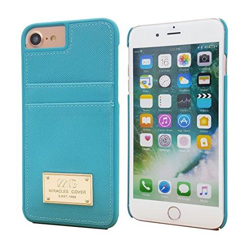 iPhone 7Leder Kupplung Wallet Luxus Wristlet Case Strap Cover für iPhone 711,9cm, Cyan Blue