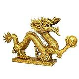 Or Dragon Statue Ornements,Maison Ornements,Bronze Statue De Dragon,Feng Shui Bronze Ménage Métal Artisanat Décoration (12 * 2.3 * 6.5 cm)...
