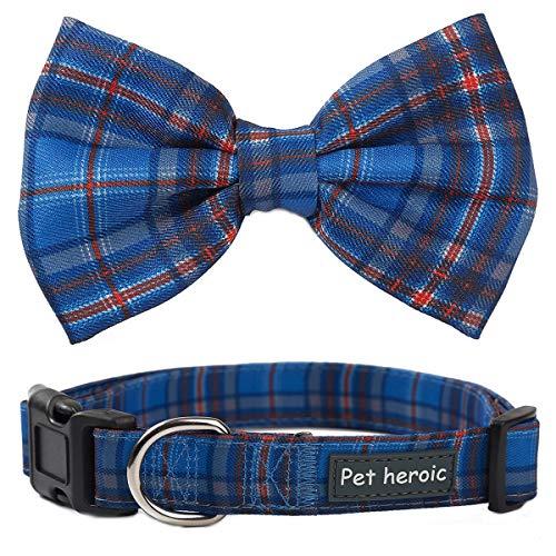 Collare per cani e gatti con papillon quadretti Farfallino scozzese Regolabile Comodo e Durevole per Cani e Gatti Collare per Cani e Gatti di taglia