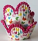 50 Muffinförmchen: Tulpen- / Blumenform mit Aufdruck Schmetterlingen bunt, Papierbackförmchen -50x45mm