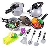 EFO SHM Toepfe Spielkueche, Topfset Kinder, Toepfe Set Kinder, Kochgeschirr Kinder Metall, Topfset Spielzeug mit Gemüse für Kinder älter als 1 Jahr.