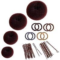 Donut Hair Bun Maker Set, Zingso 4 Pcs Women Girls Hair Accessories Ring Style Mesh Donut Hair Bun Shaper Maker Set with Hair Elastic Bands, Hair Pins for Dance Ballet Chignon (Brown)