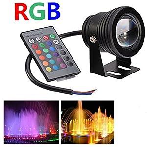 Jinda 12V 10W RGB unterwasser LED lampen Leuchte für Hochzeit Party Weihnachten, 900LM IP68 Wasserdichte LED Licht mit Fernbedienung(Schwarz)