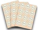 Kigima 36 Edle Aufkleber Sticker Klebe-Etiketten Alles Gute 4cm Rund Champagner Herzen-Vintage-Look Perfekt für Geschenke, Hochzeit Oder Tischdeko
