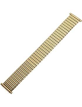 XS Uhrenarmband 18mm Edelstahl gold extra kurz glanzpoliert - Zugband flexibel, vergoldet - Flexband aus Metall...
