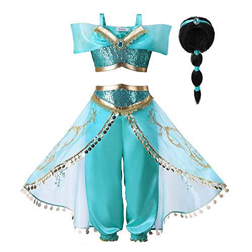 Jasmin Kostüm - Pettigirl Mädchen Blau Paillette Klassisch Prinzessin Ankleiden Kostüm Outfit (9-10 Jahre, Kostüm mit Perücke)