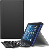MoKo All-New Amazon Fire HD 8 Bluetooth Tastatur Hülle Keybord Case - Wireless Bluetooth Tastatur QWERTY Layout mit Auto Sleep/Wake up Funktion, Schwarz