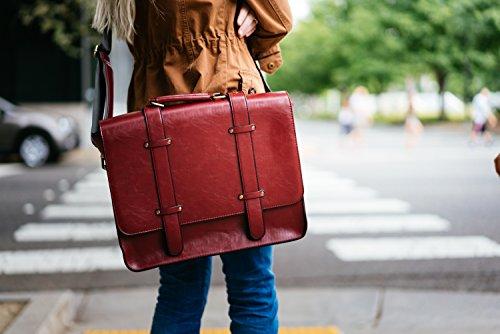ECOSUSI Borsa Messenger Donna Borsa a Tracolla Vintage Borsa Uomo Rosso