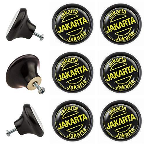Jakarta 00027S_0014 Lot de 6 boutons de meuble avec boutons de meuble Noir