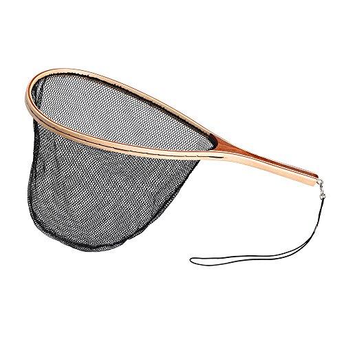 Lixada Fliegenfischen Kescher mit Holzgriff, Länge: 60cm, Netto-Material: Nylon