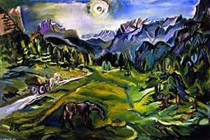 Peinture à l'huile - 20 x 13 inches / 51 x 33 CM - Oskar Kokoschka - Paysage Dolomite