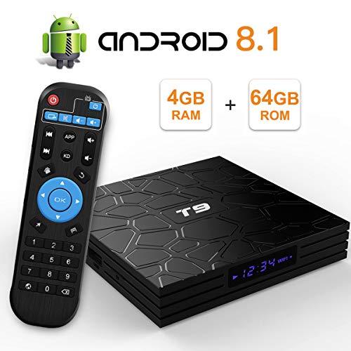 Sidiwen Android 8.1 TV Box T9 4GB Ram 64GB ROM RK3328 Quad-Core Cortex-A53 2.4GHz 5.0GHz WiFi Bluetooth 4.1 Ethernet USB 3.0 Soporte 3D 4K2K Ultra HD H.265 Smart Set Top Set