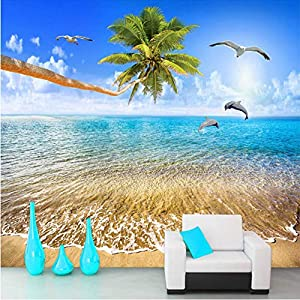 piso con vistas al mar: (zxfcccky)Mural 3D personalizado Hermosa vista al mar Delfines de coco Naturalez...