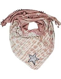 Mevina Damen XXL Schal Glitzer Stern Retro Hippie Pali Muster mit Bommeln groß quadratisch Baumwolle Oversized Premium Qualität