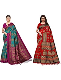 Anni Designer Women's Multicolor Mysore Silk Saree With Blouse Piece (Pack of Two) (Mysore Silk COMBO two_2_Free Size)