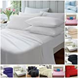 Highliving Flat sheets Percale Plain Dyed Poly Cotton Single Double King size (King, White)