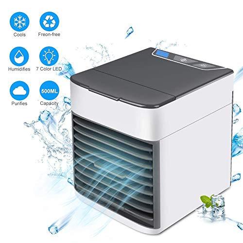 Climatiseur portatif, Mini-épurateur d'humidificateur pour Refroidisseur d'air 3-en-1 et 3 Vitesses réglables, climatiseur Personnel USB avec veilleuse à Del pour la Chambre à Coucher, etc.