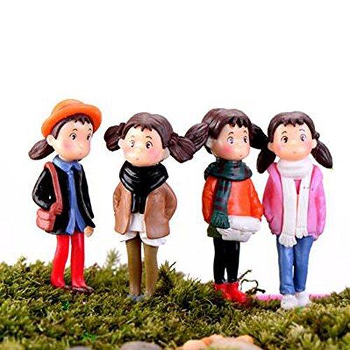 LU2000 Asiatische Menschen Minifiguren Kleine Mikrofiguren Statue Mädchen mit Schal [Autumn Series] für Micro Landscape Schreibtisch Home Decoration Kleine Statue Mini Sclupture Packung von 4 Asiatisches Bücherregal