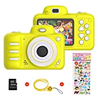 Kids Digital Camera for Girls Boys, Vannico Rechargeable HD Video Photo Camera for Kids Age 3-10, Kids Mini Selfie Camera Camcorder With 16GB SD Card Gift for Children Yellow