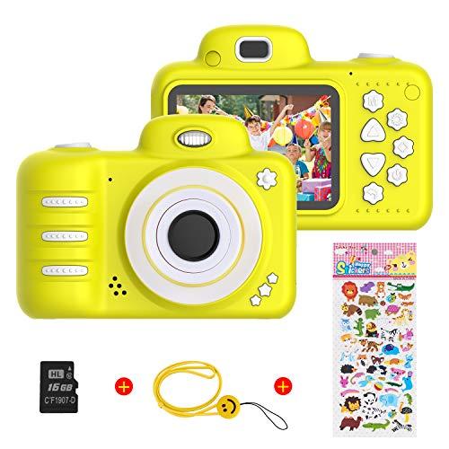 Vannico Kinder Digital Mini Kamera, Selfie Photo Kids Camera HD Kinderkamera 8 Megapixel, Wiederaufladbar Actionkameras Camcorder für Mädchen Jungen mit 16G SD Karte (Gelb) -