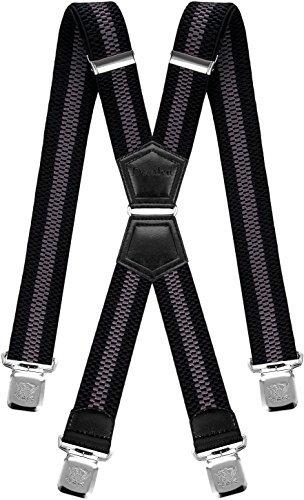 Schwarz Passt Grau (Decalen Hosenträger für Herren mit 4 Starken Clips X Form Lang Eine Größe Passt Alle Verschiedenen Farben (Schwarz Grau 2))