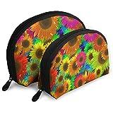 Sacchetto da toeletta con borsa per trucco portatile con borse colorate a colori girasole, borsa da viaggio portatile multifunzione Borsa per frizione piccola con cerniera