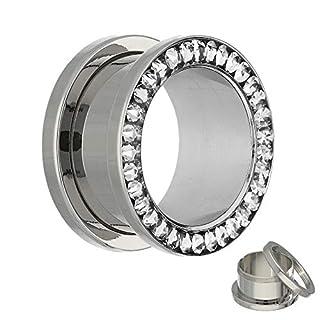 Treuheld Flesh Tunnel - Silber - Kristall - Klar - Schutzschicht 5 mm