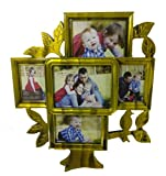#7: GS Photo Frame Picture 5 in 1 Wall Rustic Wall Decor Home Antique Solid Hanging Set Poster   Tree Shape Frame (Green)