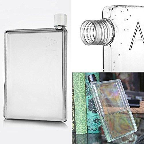 420ml memobottle Mini klar A5Papier Flasche flach Wasser Flasche Cup Wasserkocher Neu -
