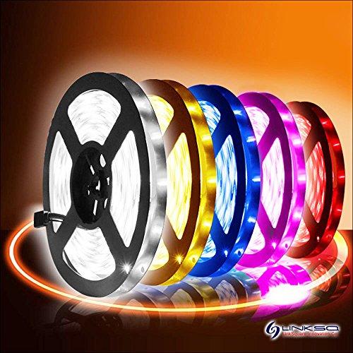 LinkSquare 5m 5050 (Blanco / Blanco Frio / Blanco Cálido / Rojo / Verde / Azul / Púrpura Rosado) Impermeable IP65 DC 12V 300 LEDs (60 LEDs/Metro) Iluminación de Flexible Lámpara Ligero Hada Luz Tiras de SMD LED (Rojo)