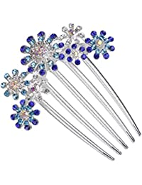 Clip Peineta Peine de Cabello Pelo 5-pin Flor Diamantes de Imitación Joyas para Mujer # 5