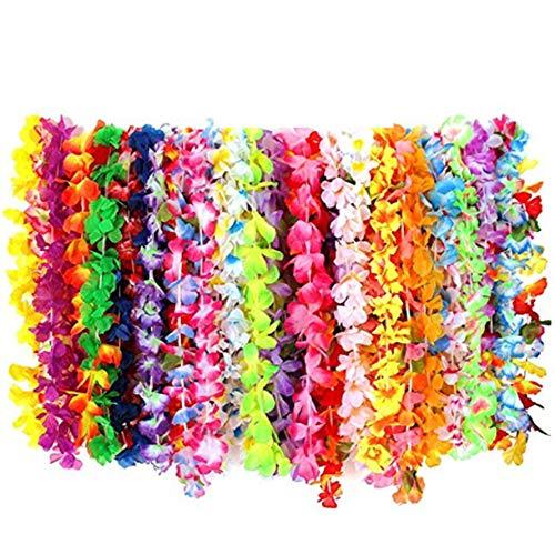 Wetry 72 Stück blumenketten hawaiiketten Hawaii Bunten Girlanden Tropische Blumen Stoffblüten Hawaii Dekoration für Hula Kostüm,Party,Beach, Geburtstage