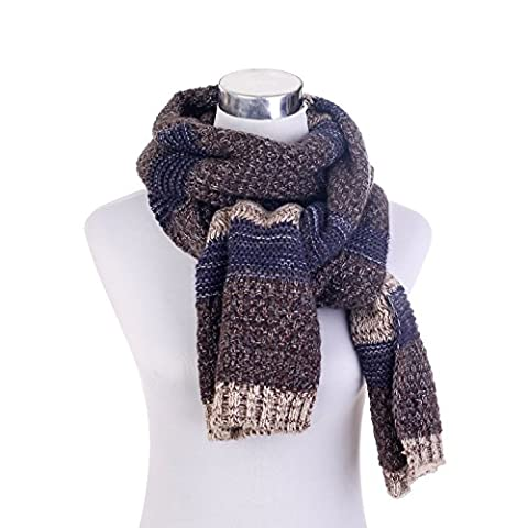 BEKILOLE Unisex Colorful Long Knit Striped Scarf Double Layer Twill Acrylic Scarf Shawl Wrap