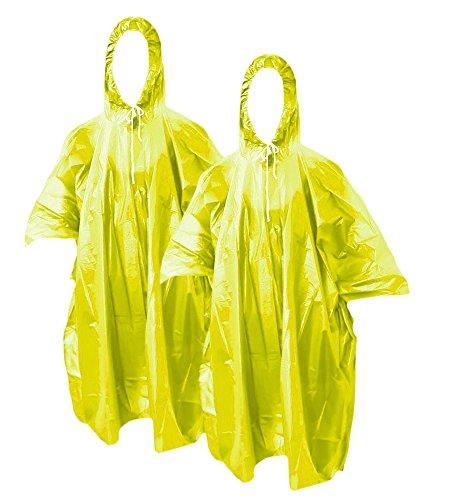 COM-FOUR® 2x Mehrweg - Regenponcho Notfallponcho Regen Poncho mit Kapuze - Regenschutz zu jeder Gelegenheit (2x Gelb)